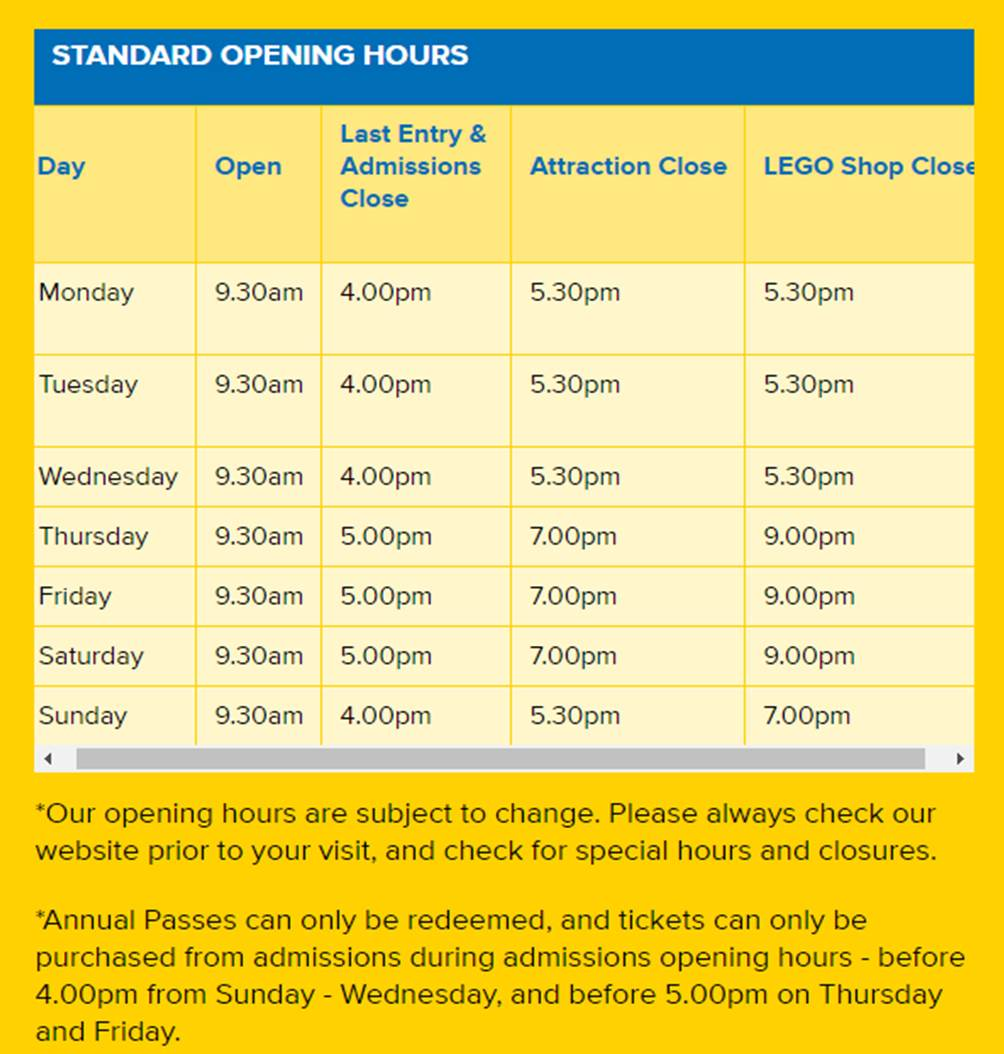 Opening Hours - Chadstone
